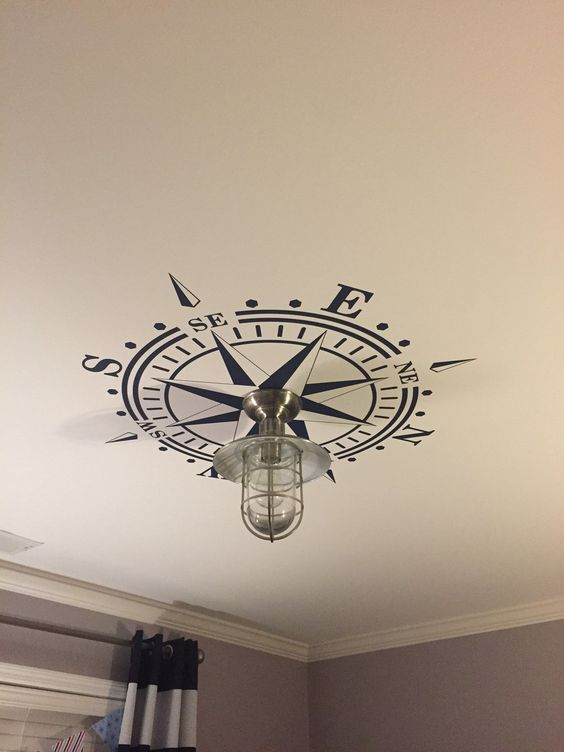 Photo of Ceiling Medallion Compass Rose Decal Nautical Decor