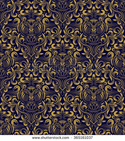 Damask Seamless Pattern Repeating Background Gold Blue Floral Ornament In Baroque Style Antique Golden Repeatable Wallpaper