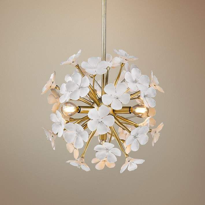 Posy 15 1 2 W White Gold Small Porcelain Flower Pendant Round Pendant Light Pendant Light Gold Pendant Lighting