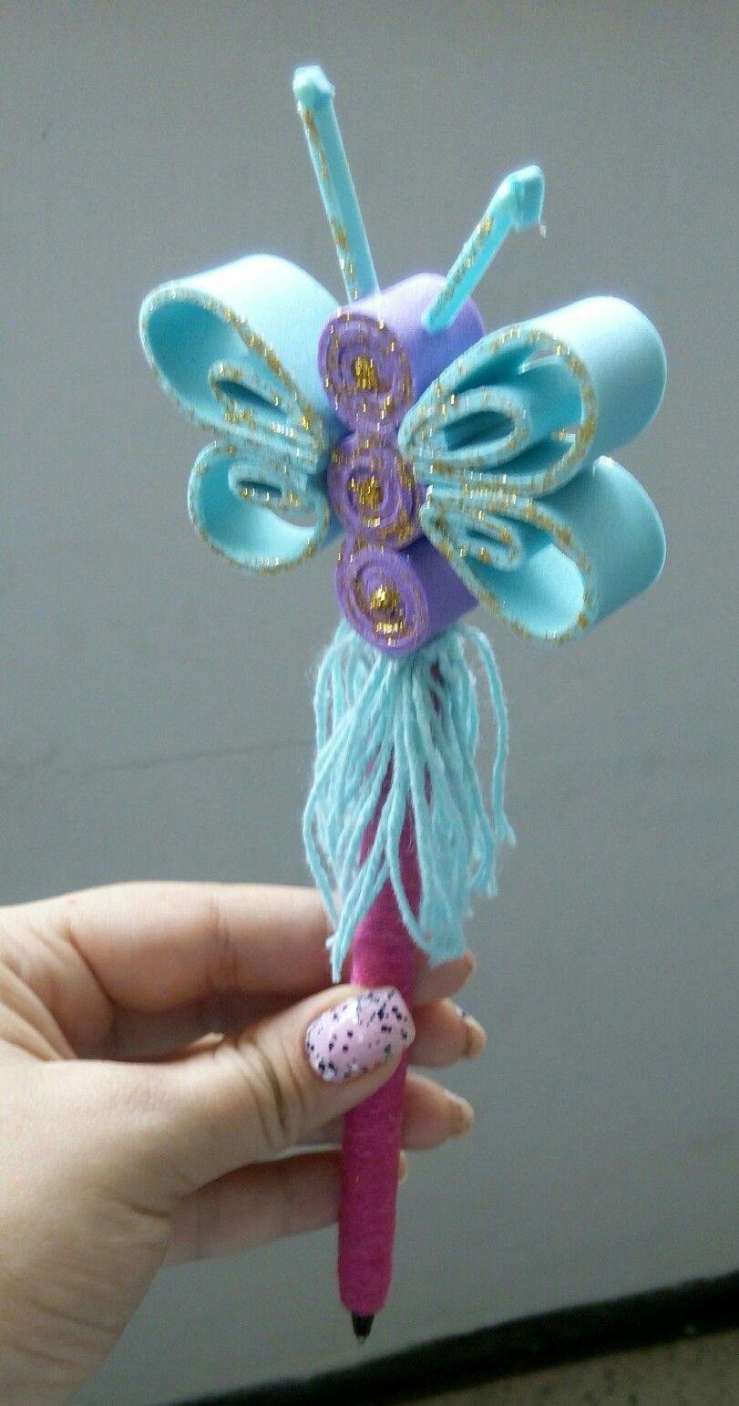 Lapicero decorado con foami y forma de mariposa - Lapiceros reciclados manualidades ...