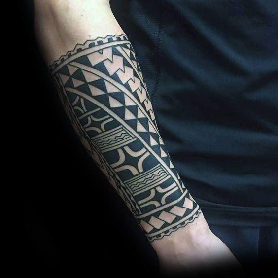Hawaiian Male Traditional Forearm Sleeve Tattoo Ideas