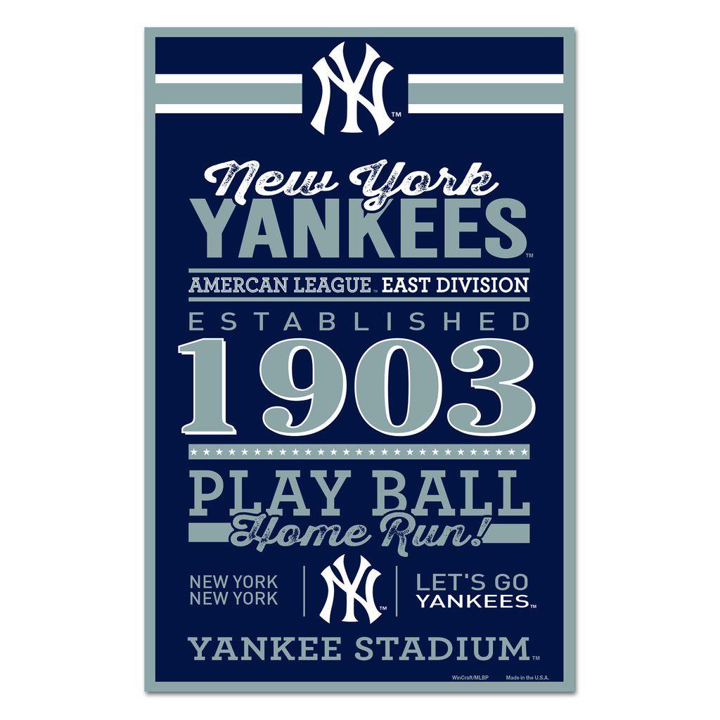 New York Yankees Sign 11x17 Wood Established Design In 2020 New York Yankees Yankees New York