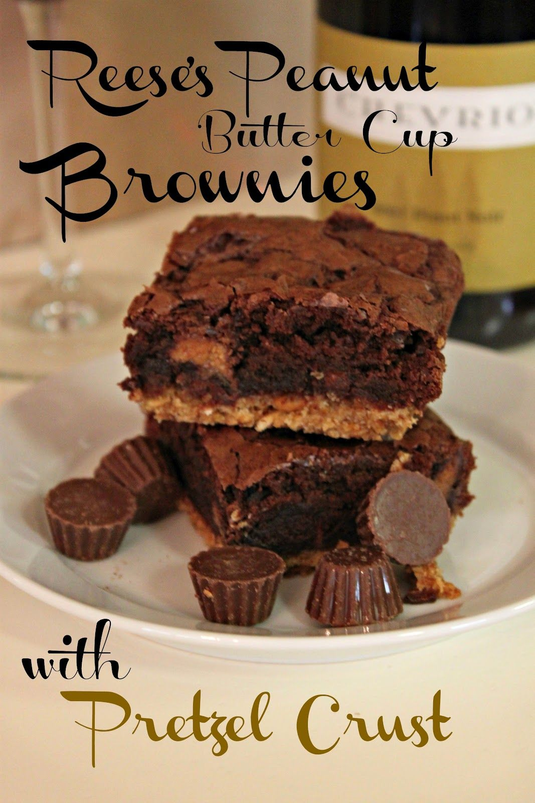 Pretzel Crusted Reeses Peanut Butter Cup Brownie Bars.