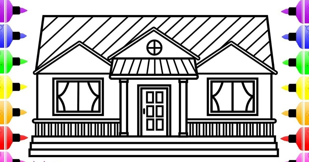 How To Draw A House For Kids House Drawing And Colour For Kids House Drawing And Col Drawing For Kids Drawing Pictures For Kids Kids Printable Coloring Pages