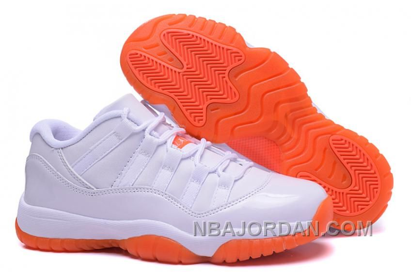 31e6093b508bb8 Air Jordan 11s Low Women Shoes Online NEW White Orange Discount ...