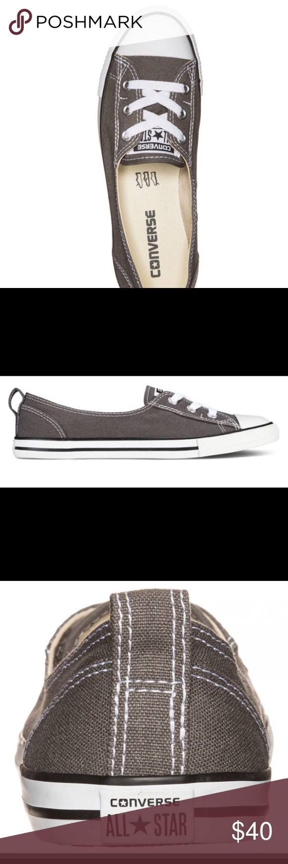 3db6a9e8c649 CONVERSE CHUCK TAYLOR BALLET LACE SLIP CHARCOAL Combining both a classic  flat and converse Chuck Taylor