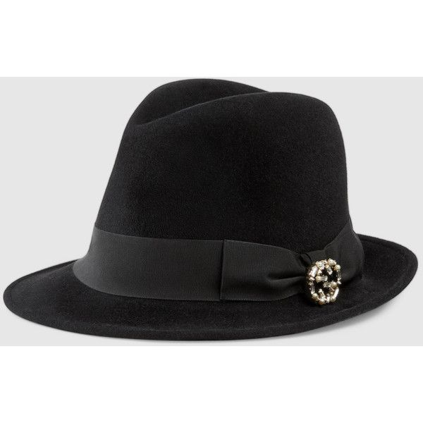 419599eae799b6 Gucci felt fedora with pearl and crystal interlocking G ( 510) ❤ liked on  Polyvore