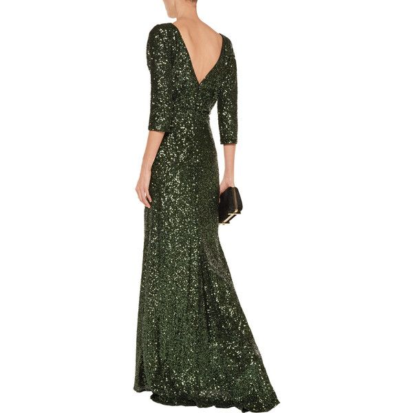 Badgley Mischka Sequined mesh gown (€340) ❤ liked on Polyvore featuring dresses, gowns, sequin evening gowns, fitted gowns, badgley mischka evening gowns, green gown and embellished gown
