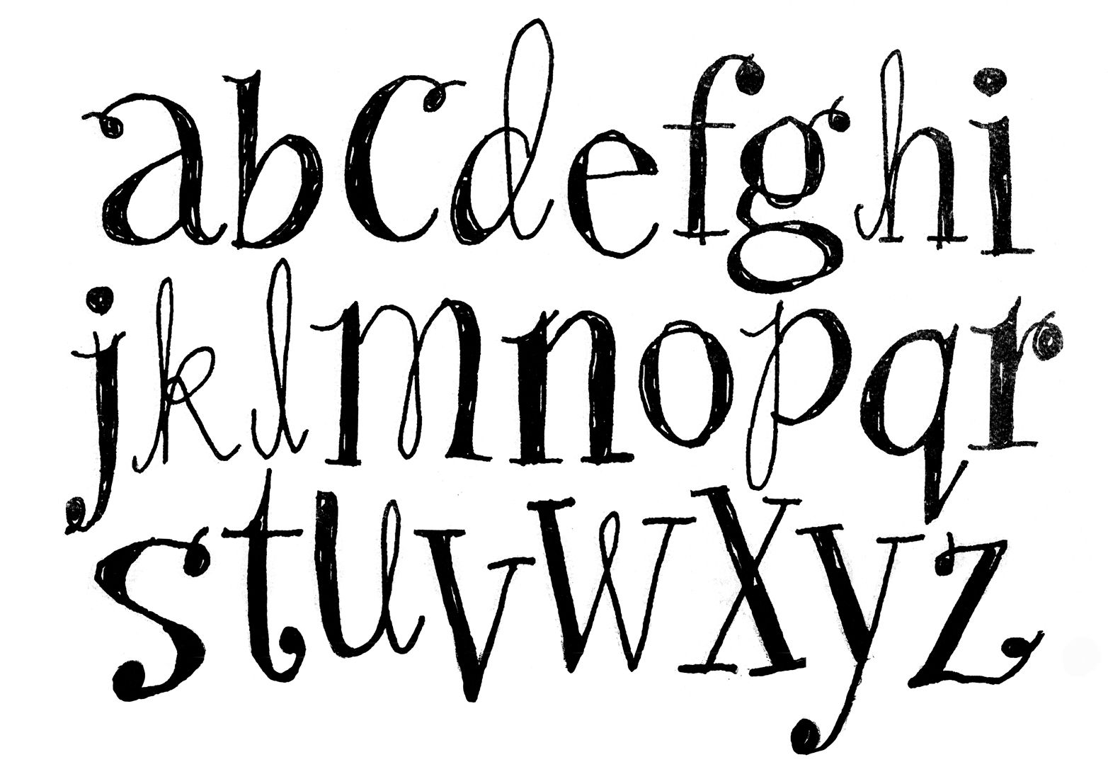 Cute Bubble Writing Alphabet
