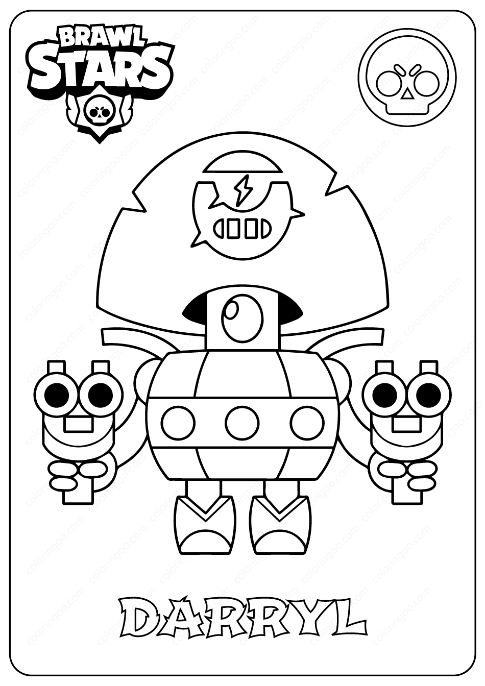 Brawl Stars Darryl Pdf Coloring Pages Coloring Pages Star Coloring Pages Brawl