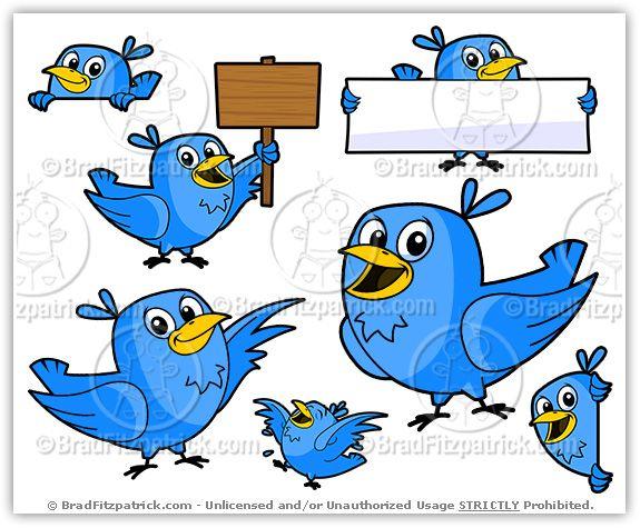 Cartoon Twitter Bird Clipart Character Vector Pack | ClipArt for ...