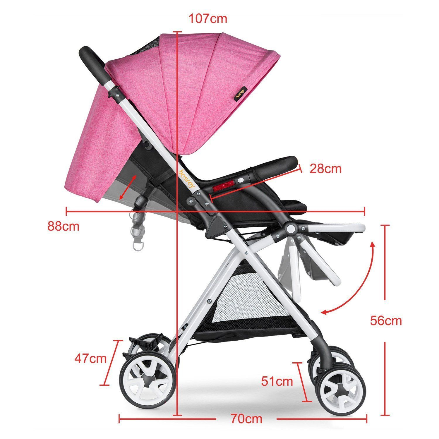 BESREY BABY STROLLER LIGHTWEIGHT PUSHCHAIR JOGGER PRAM FROM BIRTH TO 15 KG