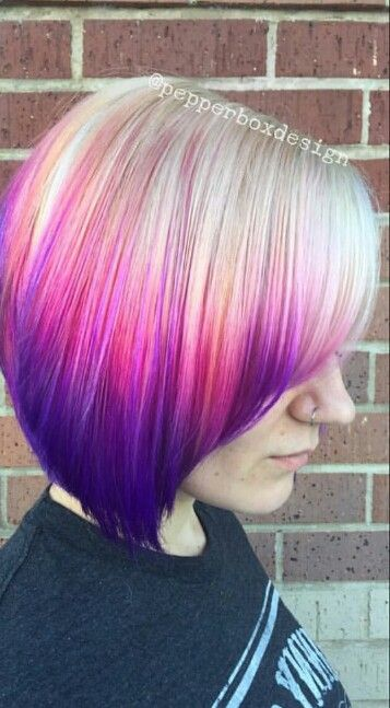 Blonde Pink Purple Ombre Dyed Hair Purple Ombre Hair Short Ombre Hair Pink Ombre Hair