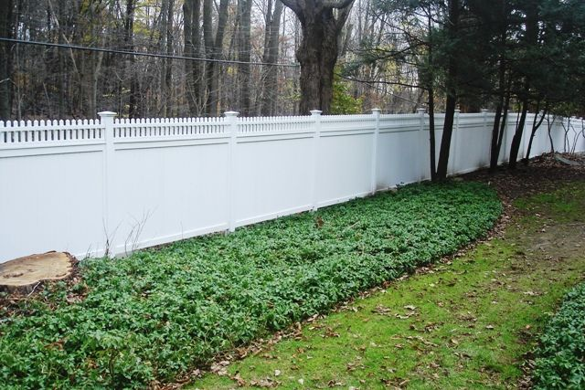White Wood Semi-Privacy Fence with Picket Top