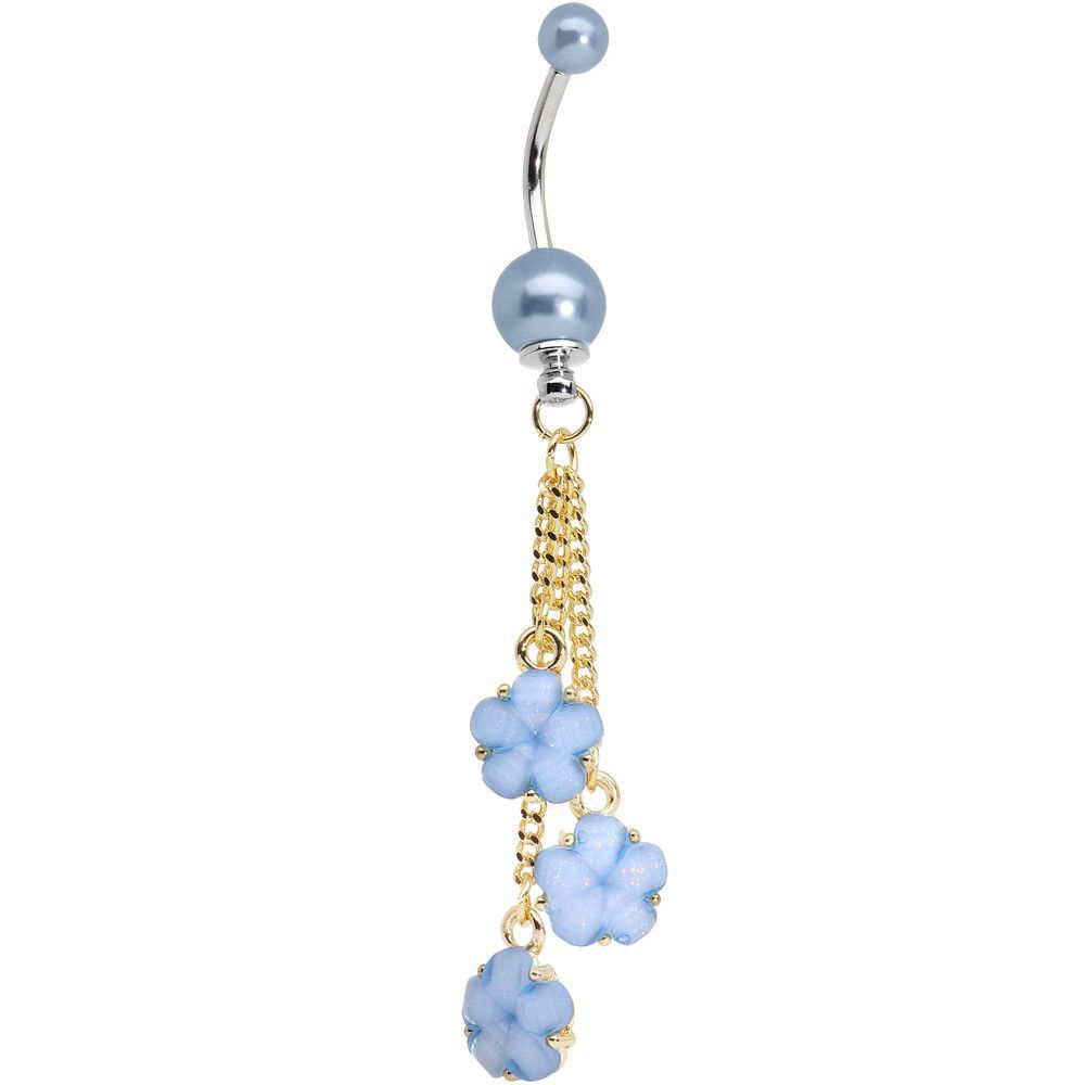 Navel piercing ideas  Golden Chain Pearly Blue Floral Dangle Belly Ring  Dangle belly