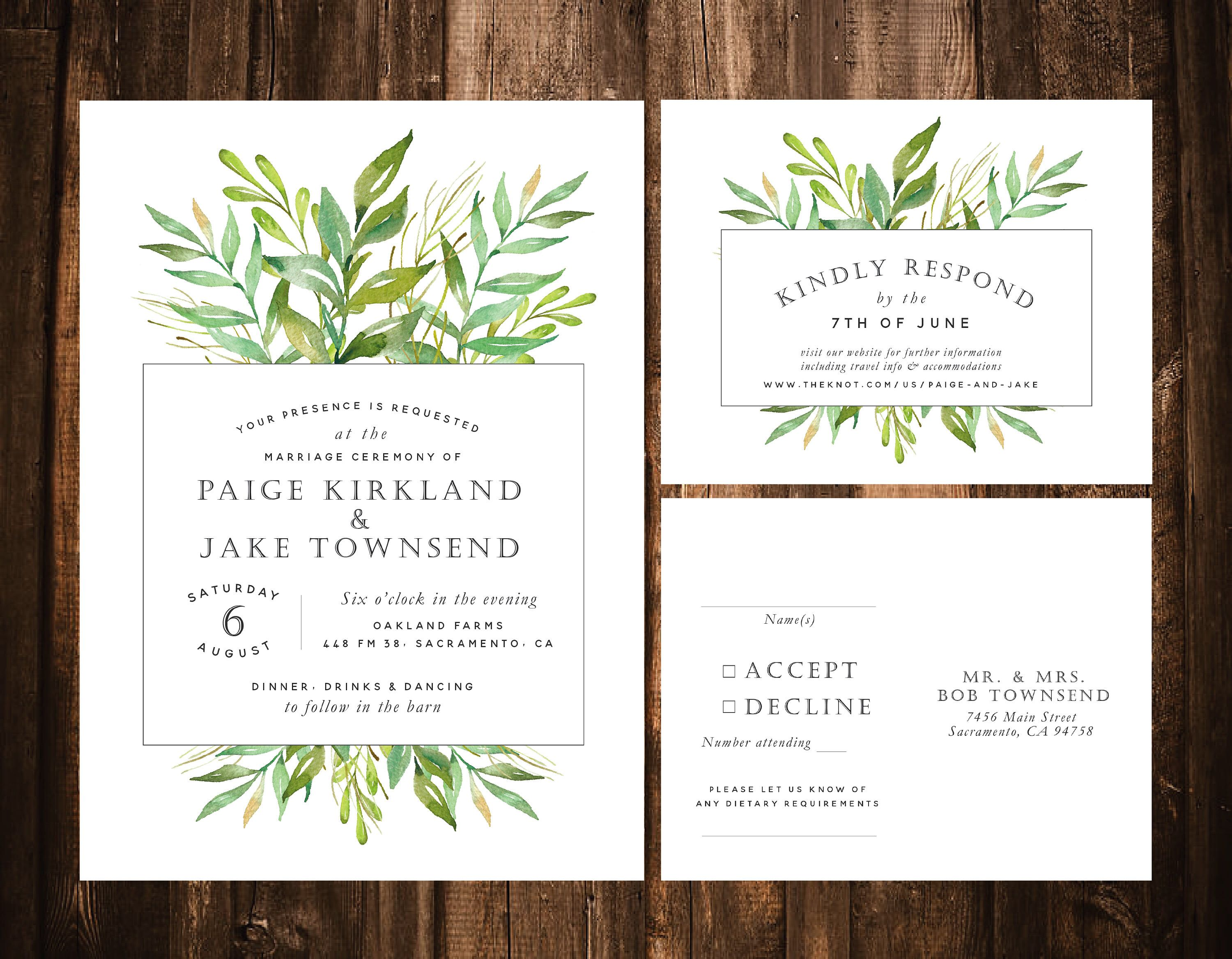 Greenery Wedding Invitations Foliage Printable Or Set Of 25