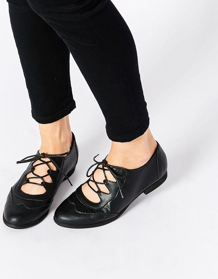 London Rebel Ghillie Lace Flat Shoes