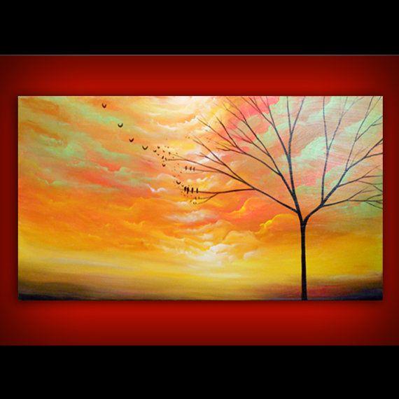 art painting abstract original painting wall art surreal large tree ...