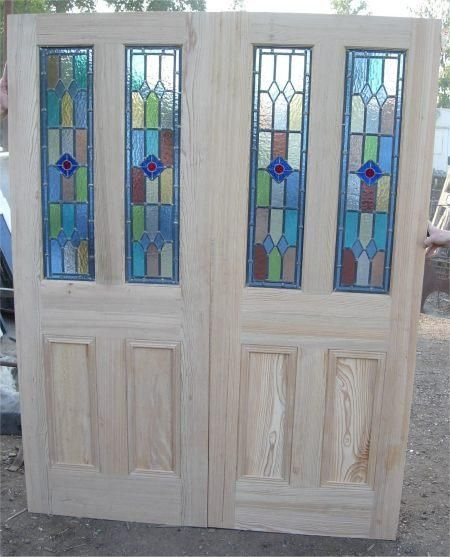 Antique Victorian Internal French 4 Four Panel Doors Stained Glass - Antique Victorian Internal French 4 Four Panel Doors Stained Glass