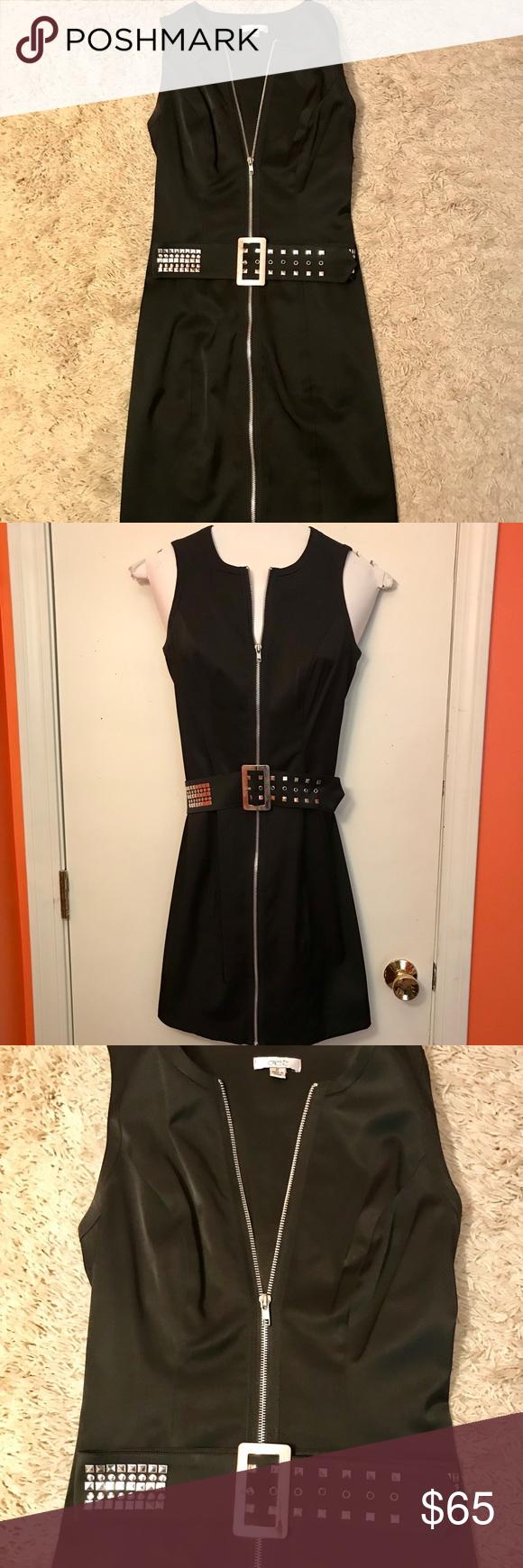 Black Zip Front Dress With Belt Size 2 Cache Zip Front Dress Dresses Belt Size [ 1740 x 580 Pixel ]