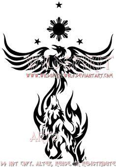 Philippine Wolf And Phoenix By Wildspiritwolf On Deviantart Tribal Phoenix Tattoo Tribal Tattoos Phoenix Tattoo