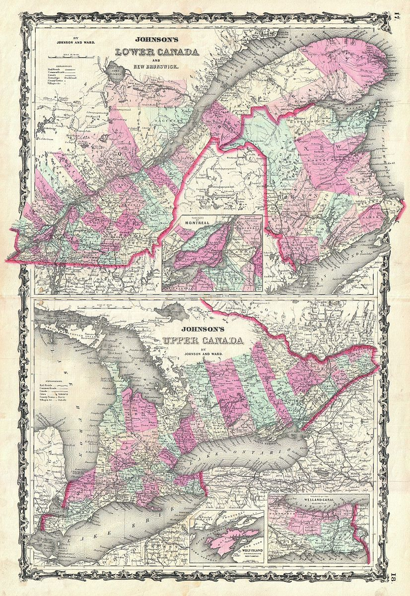 File1862 Johnson Map of (Upper Canada) Ontario and (Lower
