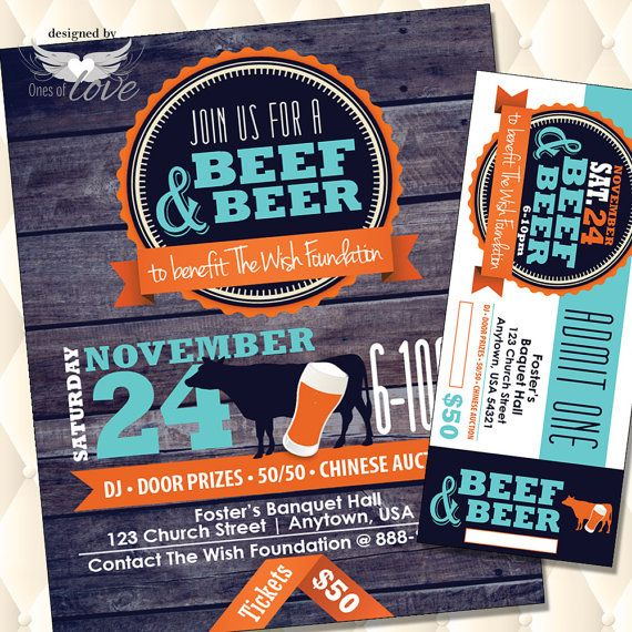 Beef And Beer Flyer Fund Raising Event Flyer Fundraising Ticket