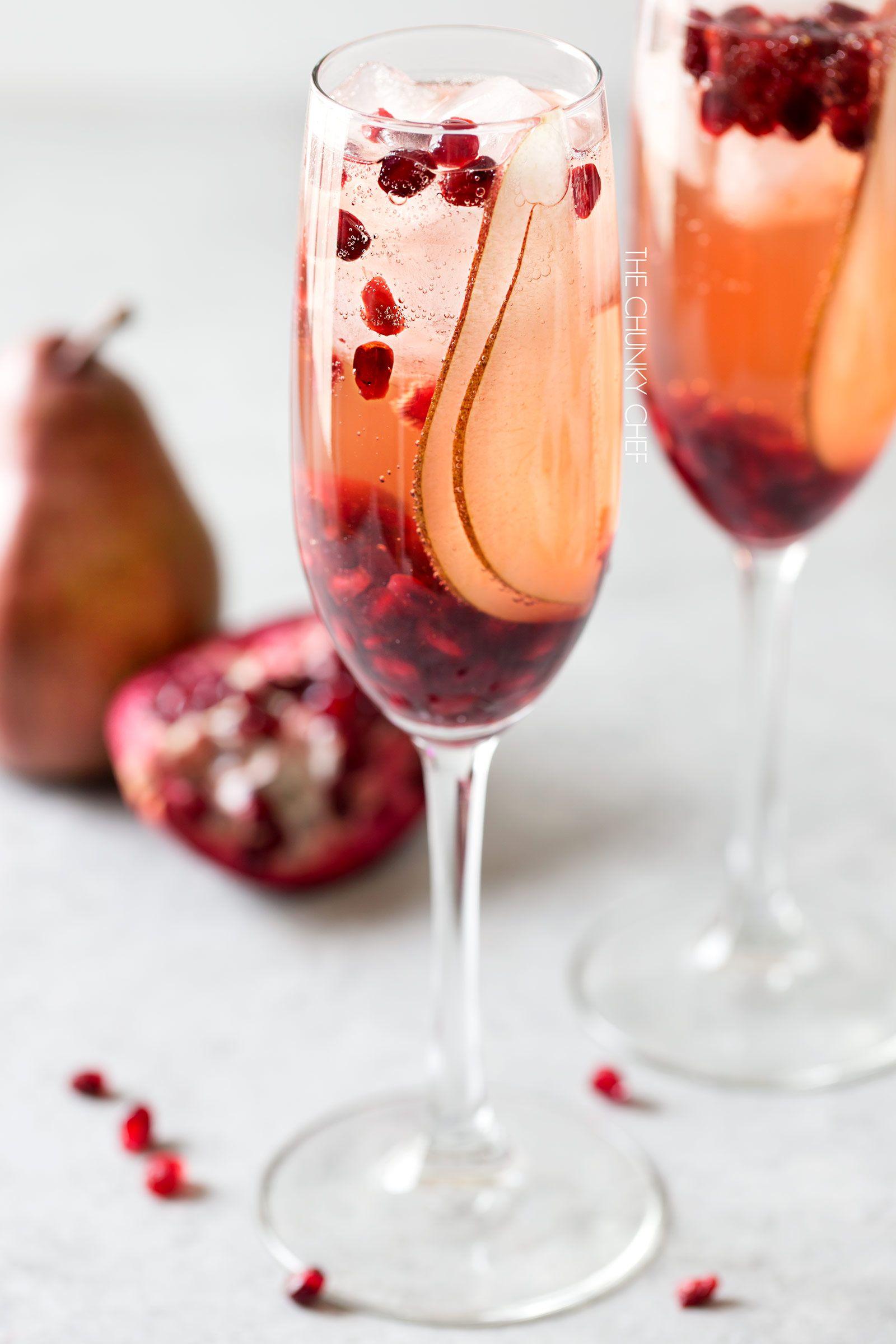 Pear Pomegranate Bellini A Delightful Combination Of Prosecco And Pear Brandy Create This Light Bubbly And Elegant Oreo Milkshake Bars Recipes Bellini Bar