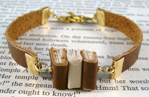 Miniature Book Bracelet The Stacks Stack of Three by JanDaJewelry, $40.00