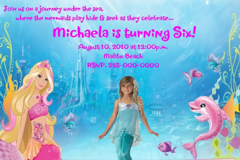 Barbie Mermaid Tale Photo Birthday Party Invitations