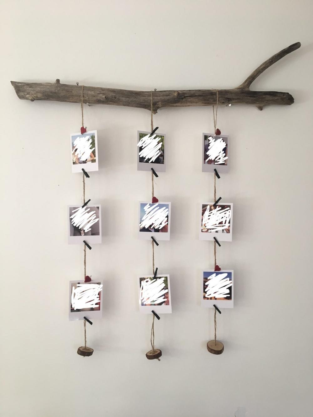 Pêle-mêle photo Polaroïd esprit nature avec bois flotté (Blog Zôdio)
