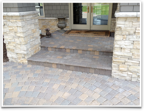 Pavers+over+porch | Paver Steps, Paver Sidewalk, Custom Stone Eden Prairie.  Brick PavingConcrete ...