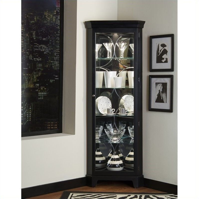 Marvelous Pulaski Oxford Black Corner Curio Cabinet   21220