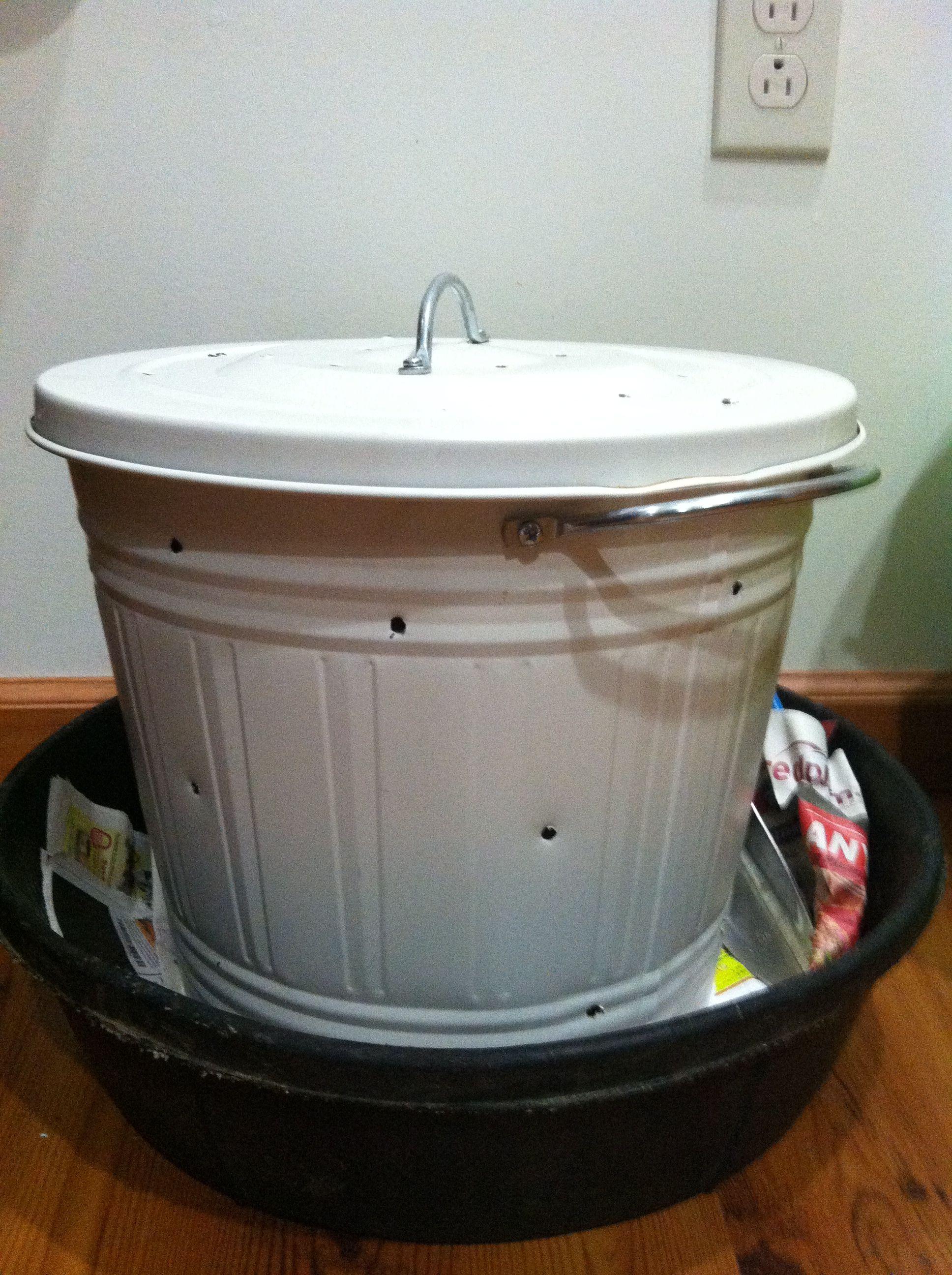 my first diy indoor compost bin vermiculture outdoor. Black Bedroom Furniture Sets. Home Design Ideas