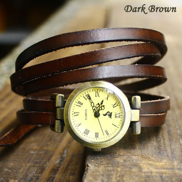 Vintage Style 5 circles dial Leather Retro Watch-Dark