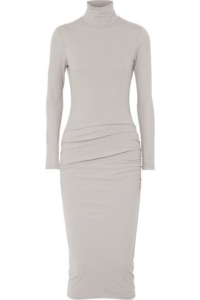 94682f40aa6f JAMES PERSE Ruched Stretch-Cotton Jersey Turtleneck Midi Dress.  jamesperse   cloth  dresses