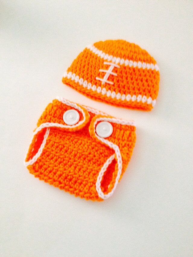 Crochet Baby Tennessee Football Set ,Baby Boy Hat,Diaper Cover,Baby Beanie, Newborn Photo Prop , Baby Football Set , Made To Order by ComfyCrochetBoutique on Etsy