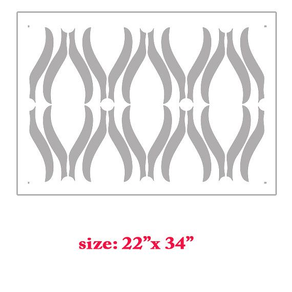 Diana Abstracted Swirls Wall Stencil Allover by bluedoor17 on Etsy, $31.00