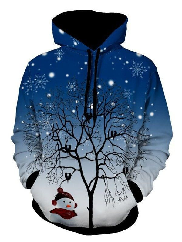 d7463d0abdab 3D Tree Snowflake Pullover Christmas Hoodie - DEEP BLUE M