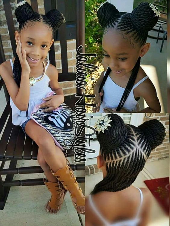 15 Adorable Braided Buns For Little Girls Afrocosmopolitan Lil Girl Hairstyles Black Little Girl Hairstyles Hair Styles