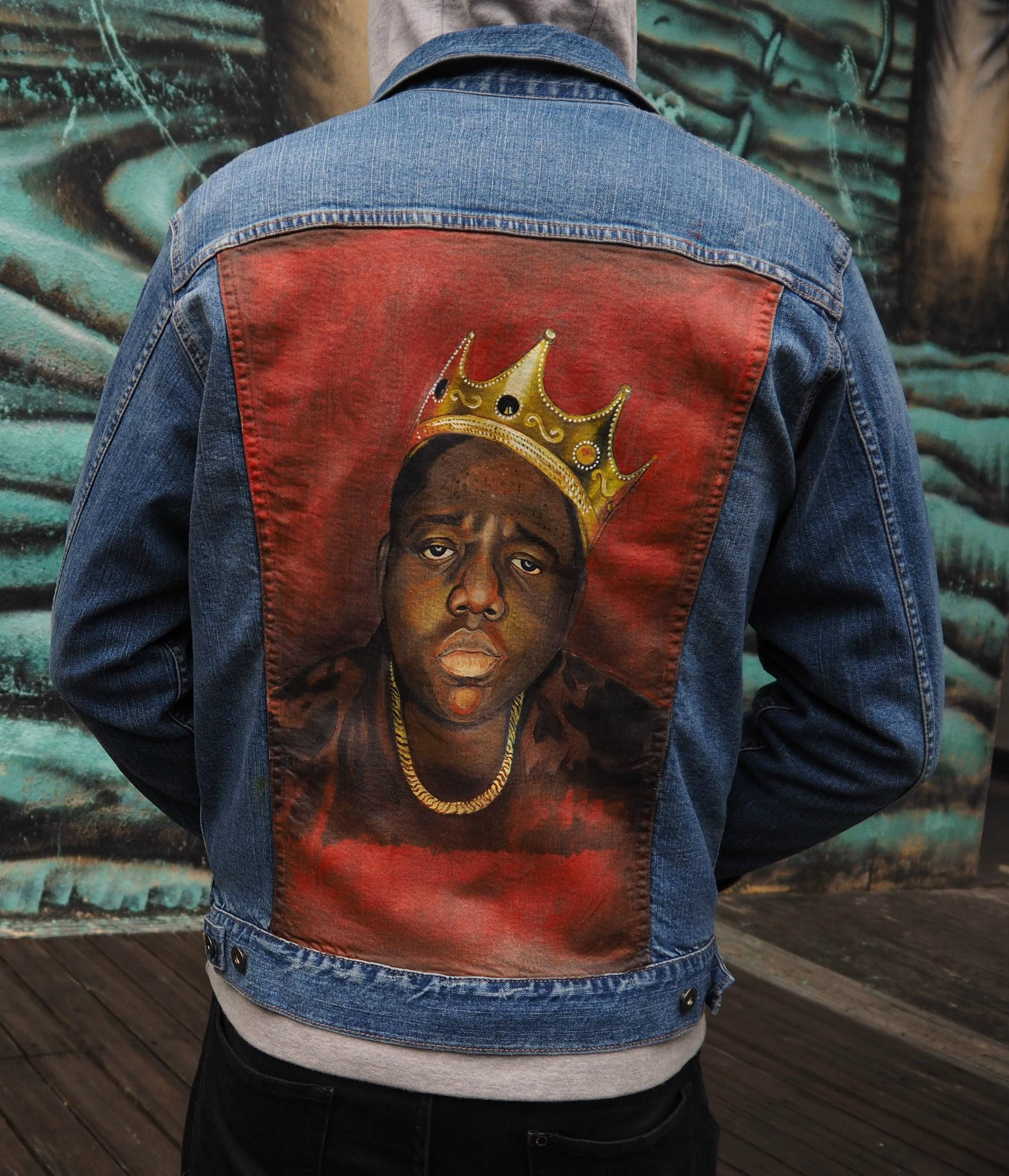 9417976b2 Painted Biggie Smalls on the back of a denim jacket. I'm happy with it