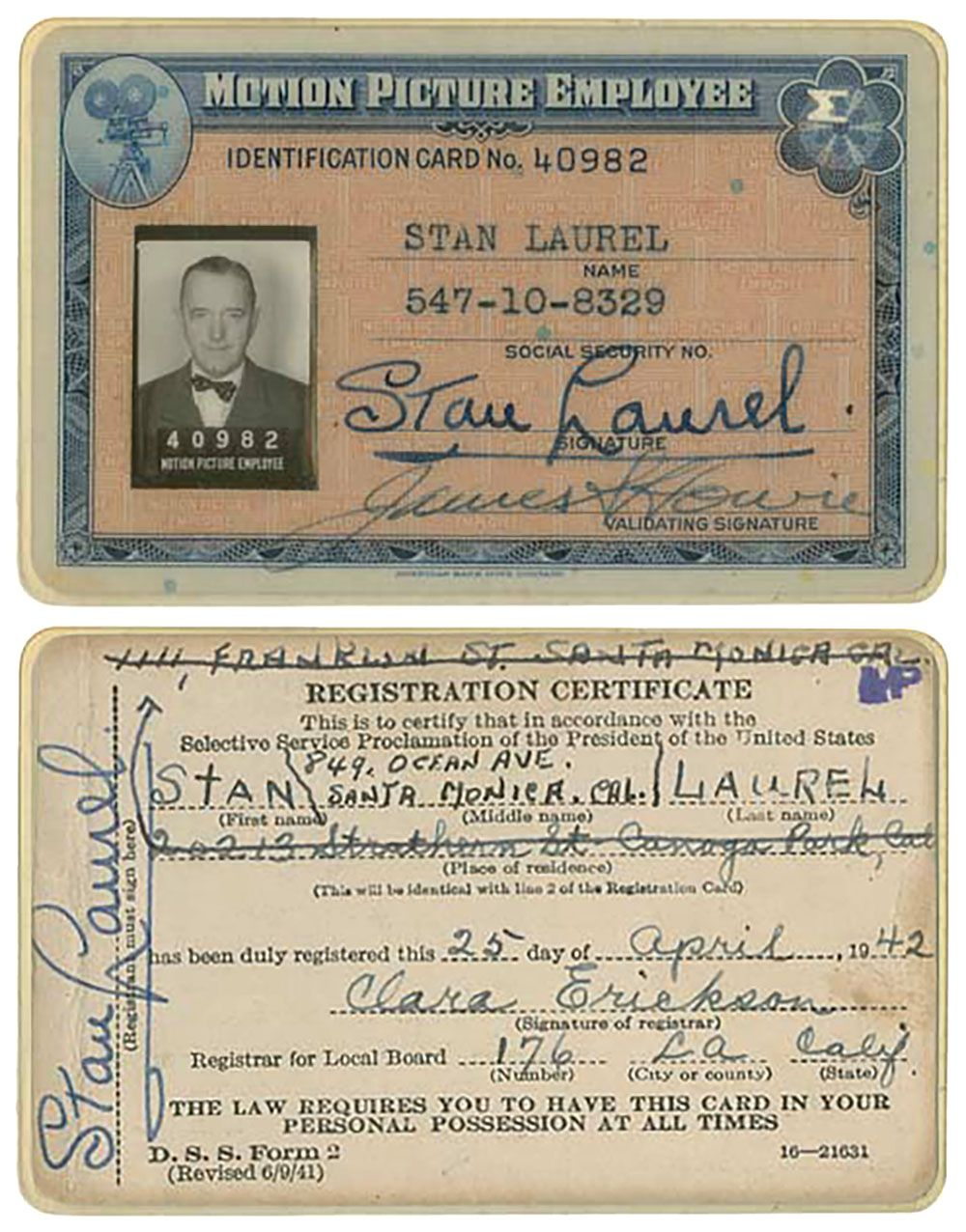 Stan LaurelS Wartime Motion Picture Employee Identification Card