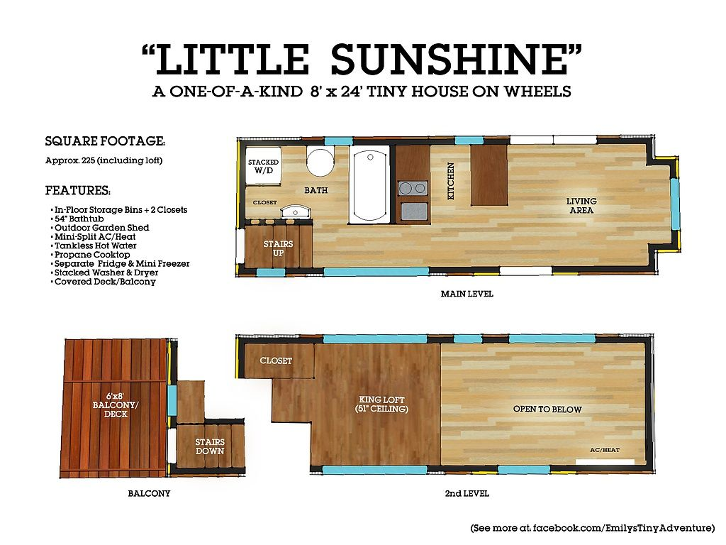 Little Sunshine 24foot Tiny House on Wheels Tiny House for Sale – 24 Foot Tiny House Floor Plans