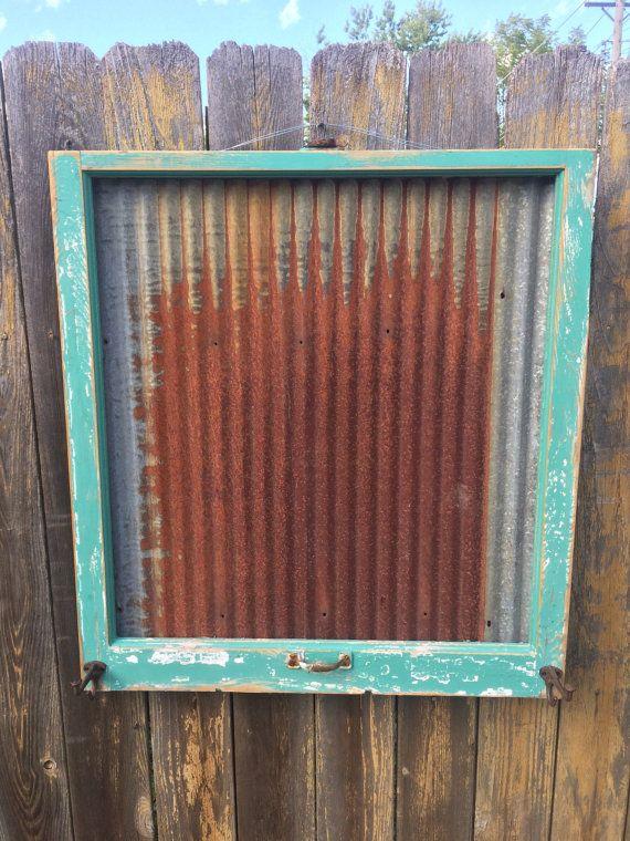 Reclaimed Old Window - Rusty Salvaged Barn Tin MAGNETIC Board - Jade ...
