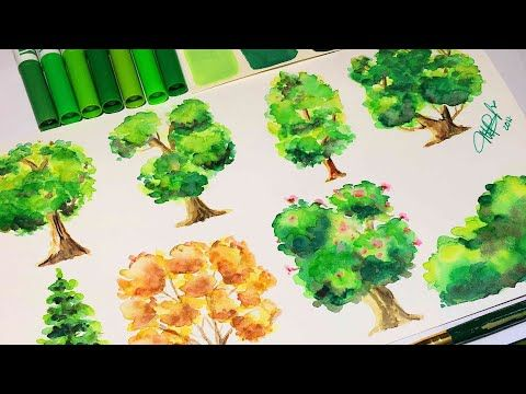 Como Pintar Arboles En Acuarelas Los Tutos Youtube Arboles