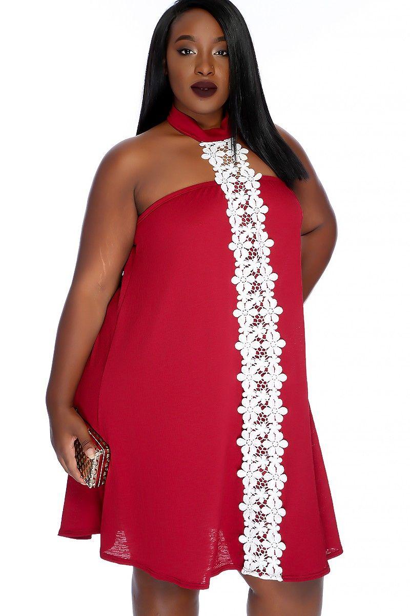 Wine mock neck floral design sexy plus size party dress floral