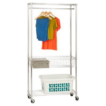 Honey Can Do Rolling Laundry Station With Hanging Bar And Basket Chrome White Laundry Station Laundry Center Laundry Storage