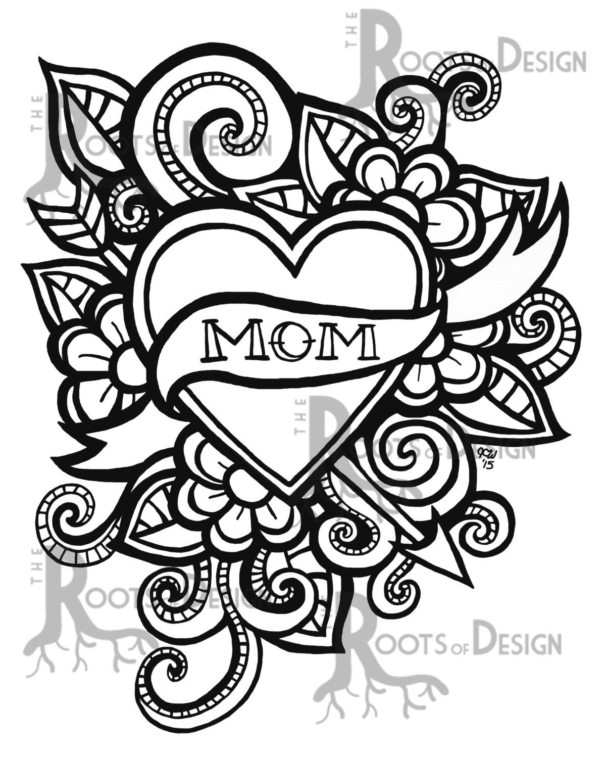 Instant Download Coloring Page Mom Tattoo Style Etsy Coloring Pages Mom Coloring Pages Doodle Art