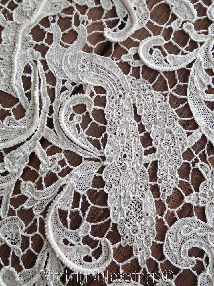 Museum Quality Antique Italian OPERA Needle Lace Figural Tablecloth A Must  See