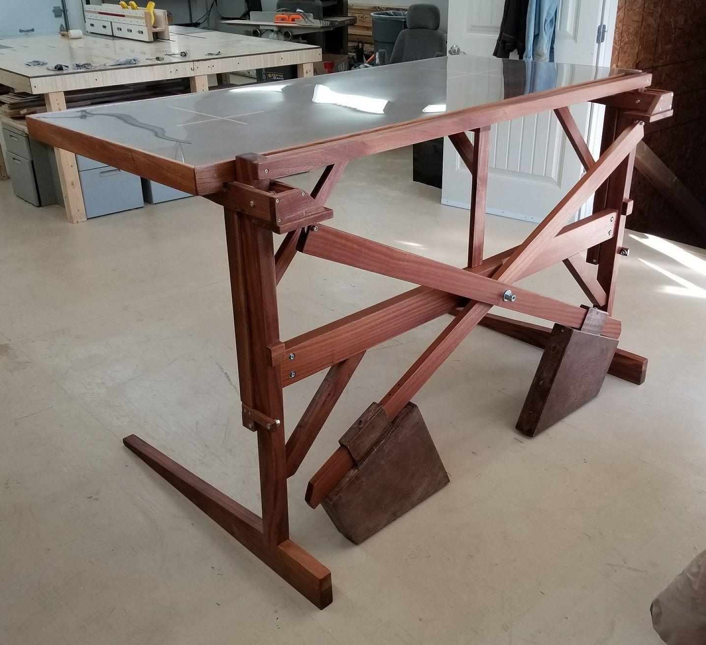 Mechanical Lumber Wooden Motion Diy Standing Desk Adjustable